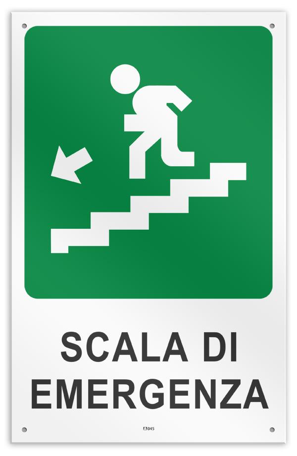 """Cartello vinile 4 fori /""""Scala di Emergenza alto freccia sinistra/"""""""
